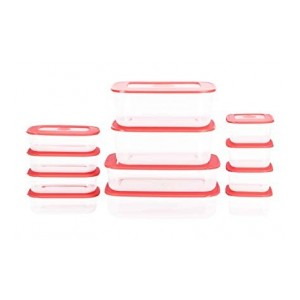 All Time Basic Plastic Container Set, 12-Pieces, Red
