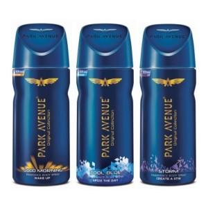 Park Avenue Good Morning , Cool Blue & Storm Deodorant Spray - For Men(300 ml, Pack of 2)