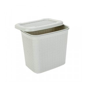 All Time Cresta Knit PPHP-Plastic Basket with Lid, 10 litres, Cream