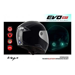 Vega Evo BT Bluetooth Helmet (Black, L)