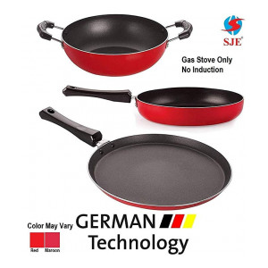SJEWARE Non Stick Cookware Set Combo Fry Pan Non Stick Tawa Non Stick Kadai Non Stick Cooking Set Offer Medium Size NO Induction