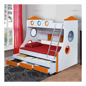Royaloak Rome Double Size Bunk Bed (White and Orange)