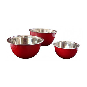 Profusion Stainless Steel Microwave Safe Fruit Satin Bowl - Set of 3 pc (17, 21,25 cm), Red
