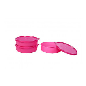 Signoraware New Classic Round Small Lunch Box Set, 550ml, Set of 3, Pink