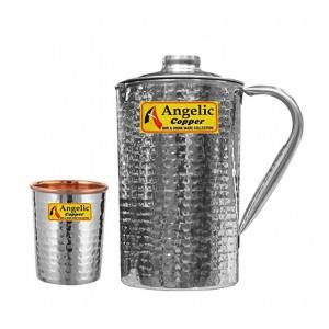 Angelic Copper Handmade Steel Jug with Glass, Steel/Copper