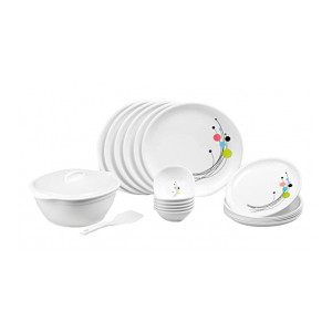 Signoraware Design-6 Round Dinner Set, 21-Pieces, White