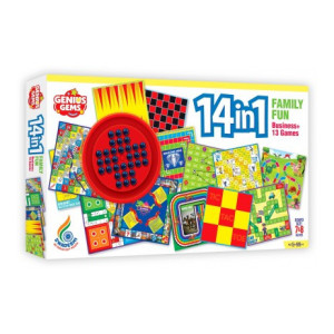 GENIUS GEMS 14 IN 1 FAMILY FUN BOARD GAME WITH BRAINVITA BUSINESS AND 12 MORE GAMES Strategy & War Games Board Game