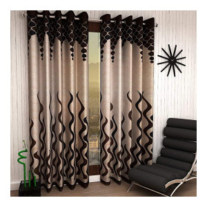 Galaxy Home Decor Modern Wave Panel Polyester Curtains for Long Door 9 Feet, Pack of 2, Brown (Brown, Long Door 9 Feet)