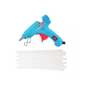 GLUN Glue Gun 20W Turquoise with 10 Transparent Sticks Standard Temperature Wired (7 mm)