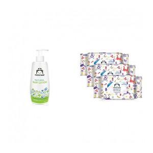 Mama Bear Natural Baby Lotion - 400 ml & Mama Bear 98% Water Wipes - 72 wipes/pack (Pack of 3)