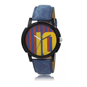 Men's/Boys Classic Analogue Quartz Watch with Stylish Round Printed Dial with Blue Denim Band