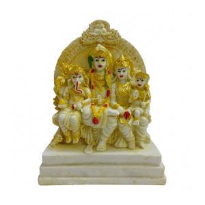 Fabzone Resin Lord Shiv Parivar | Shiv Family | Mahadev Family Statue, 6.5 inches, Yellowish, 1 Piece