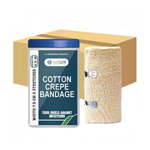 safent SAF00281-SET-8 Cotton Crepe Bandage - 3 Inch - (7.5Cm*4.5M) (Set of 8) (Beige)