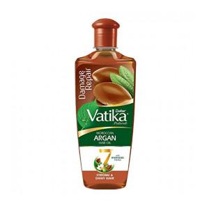 Dabur Vatika Naturals Moroccan Argan Hair Oil with 7 Ayurvedic Herbs, Repairs Damage, Provides Strong and Shiny Hair, 300 ml