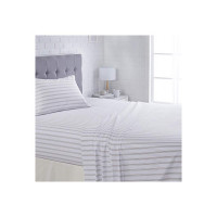 AmazonBasics Microfiber Sheet Set - (Includes 1 bedsheet, 1 Fitted Sheet with Elastic, 1 Pillow Cover, Single Large, Grey Stripe)
