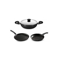 Butterfly Cordial Induction Base Non-Stick Aluminium Kitchen Set, 4-Pieces, Black