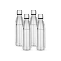 Wonderchef Hydro-Bot single wall 1000 ml Bottle(Pack of 4, Silver)