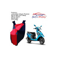 Auto Pearl-100% Water Proof PVC Matty Red & Blue Bike Body Cover with Mirror Pockets,Buckle Belt,Carry Bag for - TVS Scooty Streak