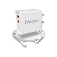 Prebook :  iVoltaa FuelPort 2.4 2.4 A Multiport Mobile Charger with Detachable Cable(White, Cable Included)