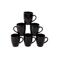 Anwaliya Edesia Series Ceramic Coffee Mugs - 6 Pieces, Jet Black, 250 ML