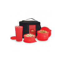 Cello Max Fresh Polypropylene Super Lunch Box Set, 4-Pieces, Red