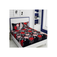 Italian Fab 144 TC Microfiber Double Floral Bedsheet(Pack of 1, Multicolor)