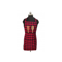 Glun Waterproof Unisex Kitchen Apron with Front Centre Pocket (RED, Checkered)