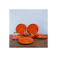 Iveo Melamine Dinnerware Set, 12-Pieces, Shimmer Gold Orange