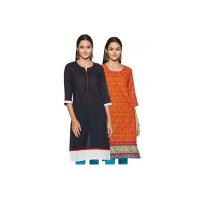 Indigo Women's Straight Kurti (Pack of 2)