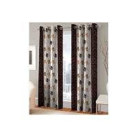 India Furnish Polyester Eyelet 8 Piece Door Curtain Set - 7 Feet, Brown