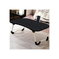MobiCover Multi-Purpose Laptop Desk for Study and Reading with Foldable Non-Slip Legs Reading Table Tray, Laptop Table, Laptop Stands, Laptop Desk, Foldable Study Laptop Table (Mate Black)