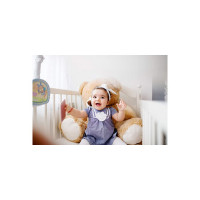 SAF Synthetic Figures Poster, Multicolor, Smiling Baby Doll with Teddy Bear, 30 cm x 45 cm x 0.2 cm