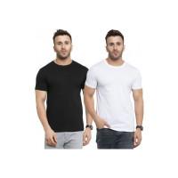 SCOTT INTERNATIONAL: Solid Men Round Neck Black, White T-Shirt(Pack of 2)