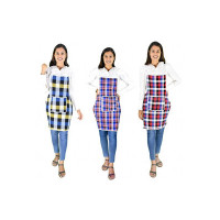 GLUN Cotton Kitchen Multi Colour Apron with Front Pocket - Set of 3(Color and Design May Vary) (Apply coupon)